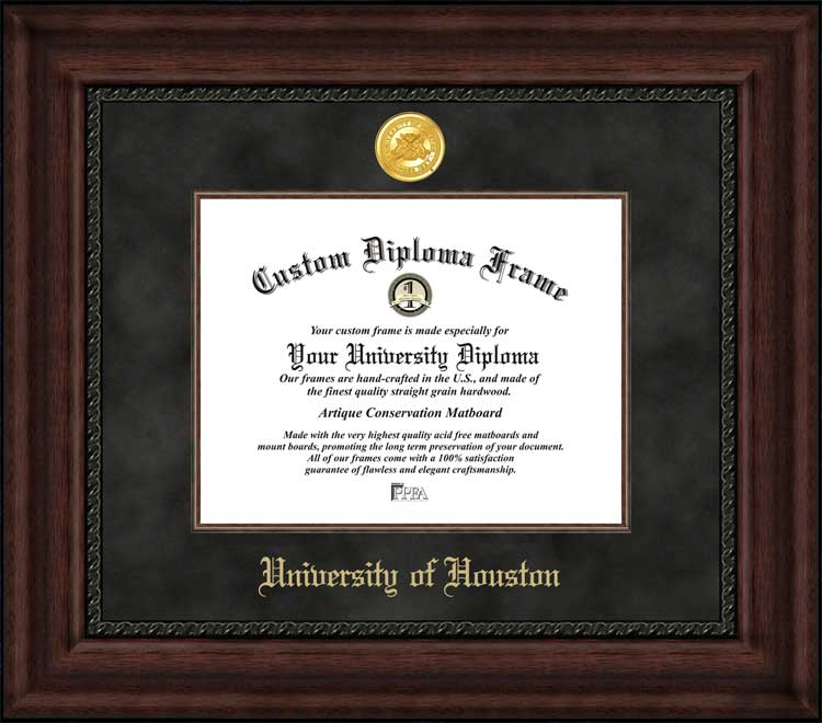College - University of Houston Cougars - Gold Medallion - Suede Mat - Mahogany - Diploma Frame