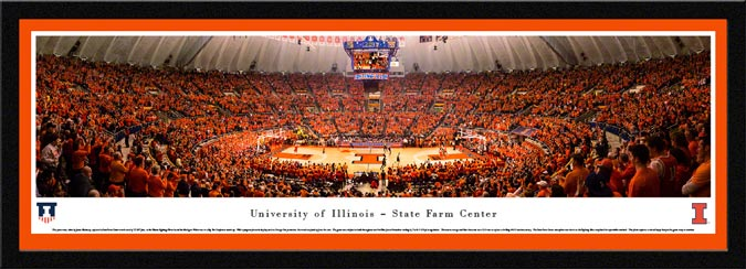 College - Illinois Fighting Illini - State Farm Center - Orange Out - Framed Picture