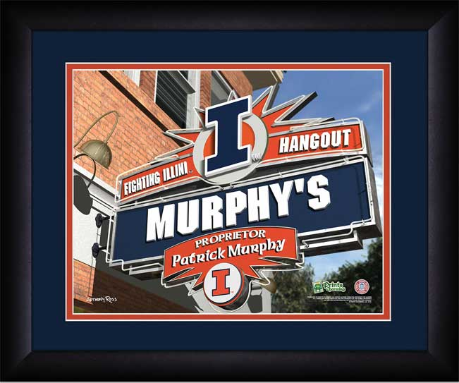 College - Illinois Fighting Illini - Personalized Hangout Sign - Framed Picture