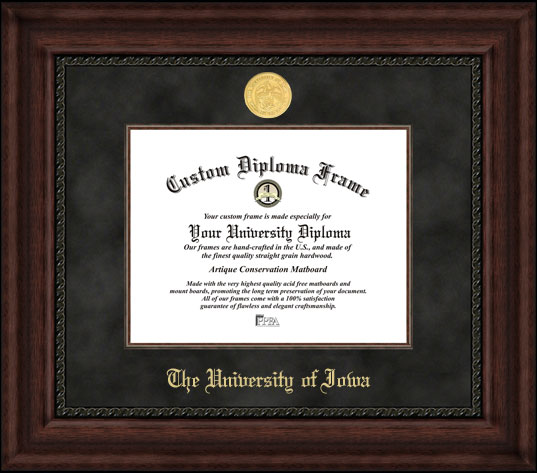 College - University of Iowa Hawkeyes - Gold Medallion - Suede Mat - Mahogany - Diploma Frame
