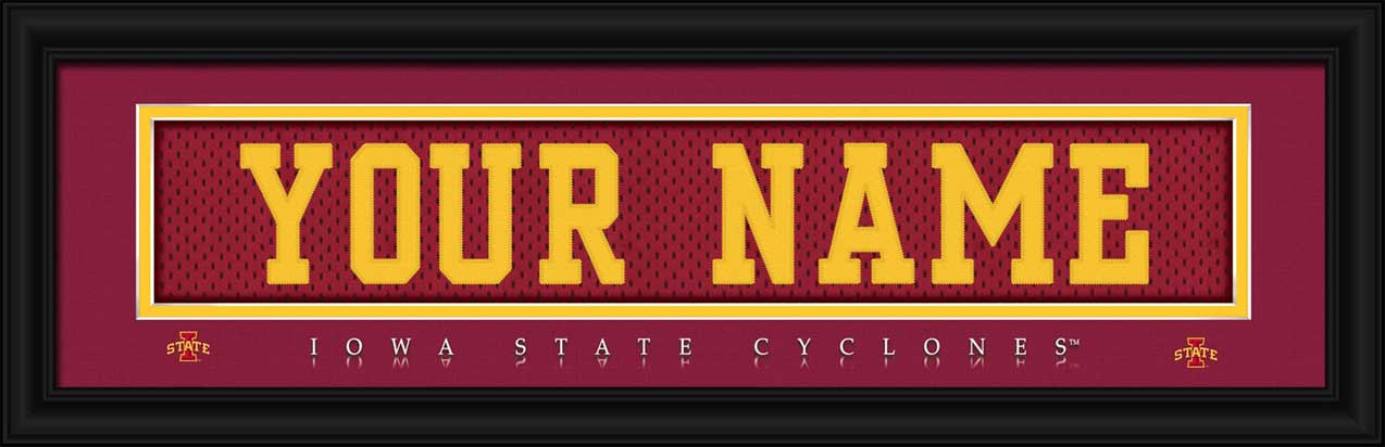 College - Iowa State Cyclones - Personalized Jersey Nameplate - Framed Picture