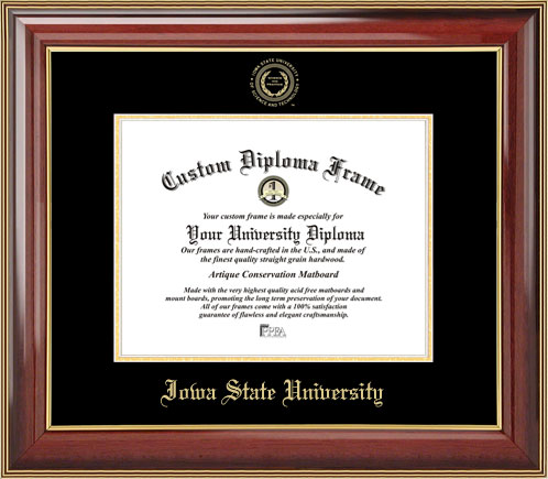College - Iowa State University Cyclones - Embossed Seal - Mahogany Gold Trim - Diploma Frame