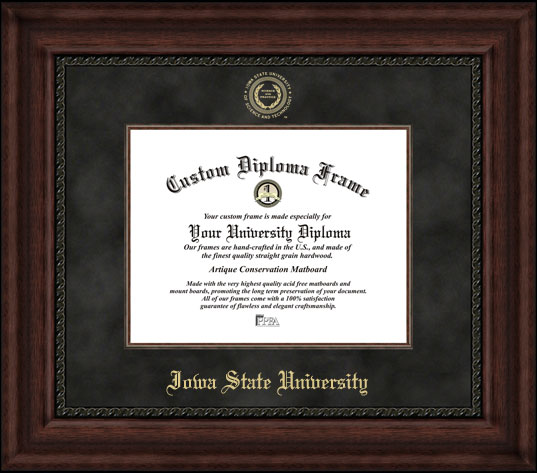 College - Iowa State University Cyclones - Embossed Seal - Suede Mat - Mahogany - Diploma Frame