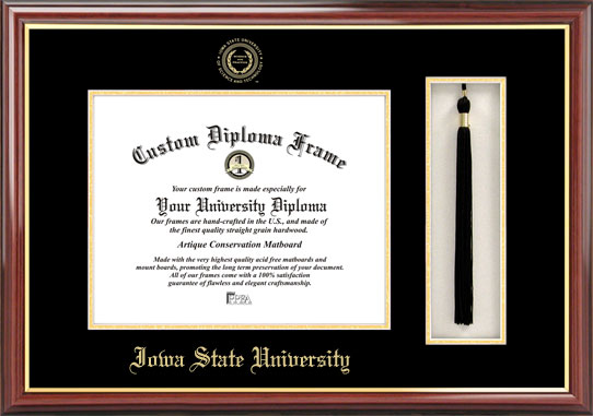 College - Iowa State University Cyclones - Embossed Seal - Tassel Box - Mahogany - Diploma Frame