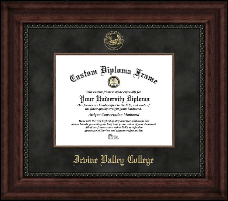 College - Irvine Valley College Lasers - Embossed Seal - Suede Mat - Mahogany - Diploma Frame