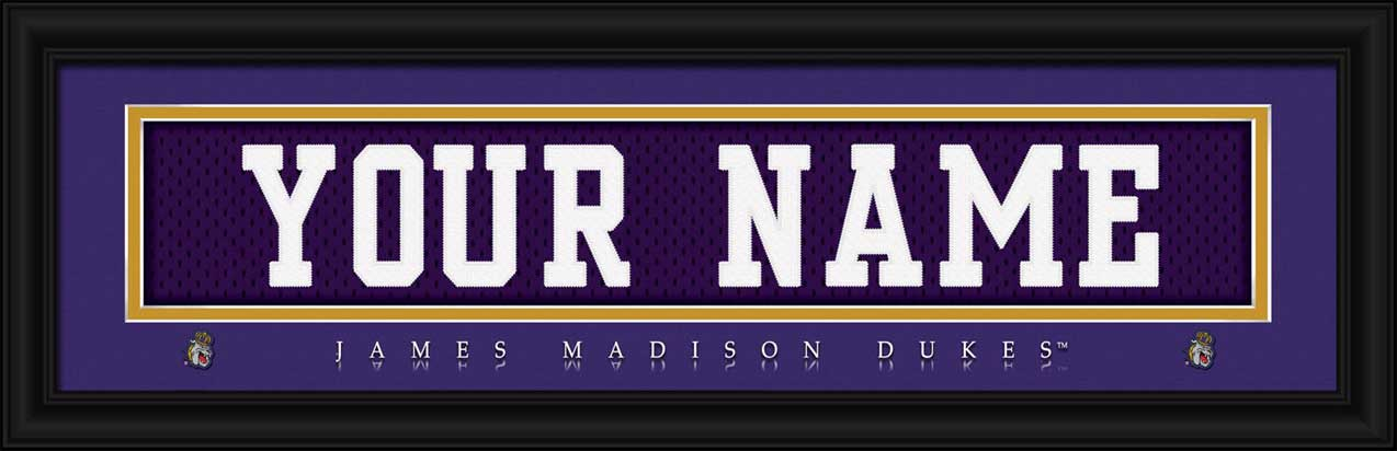 College - James Madison Dukes - Personalized Jersey Nameplate - Framed Picture