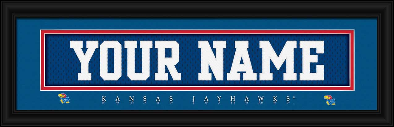 College - Kansas Jayhawks - Personalized Jersey Nameplate - Framed Picture