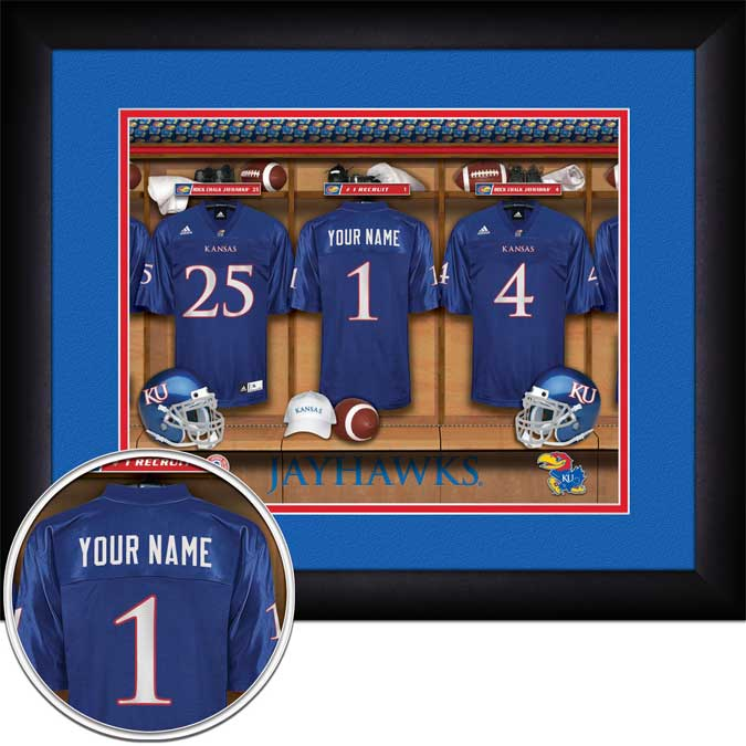 College - Kansas Jayhawks - Personalized Locker Room - Framed Picture
