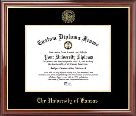 College - University of Kansas Jayhawks - Embossed Seal - Mahogany Gold Trim - Diploma Frame