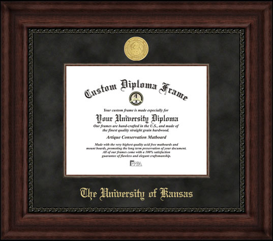 College - University of Kansas Jayhawks - Gold Medallion - Suede Mat - Mahogany - Diploma Frame
