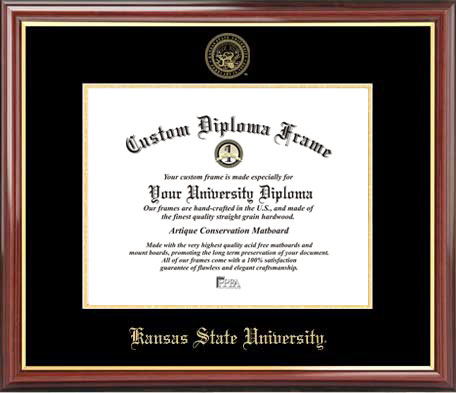 College - Kansas State University Wildcats - Embossed Seal - Mahogany Gold Trim - Diploma Frame