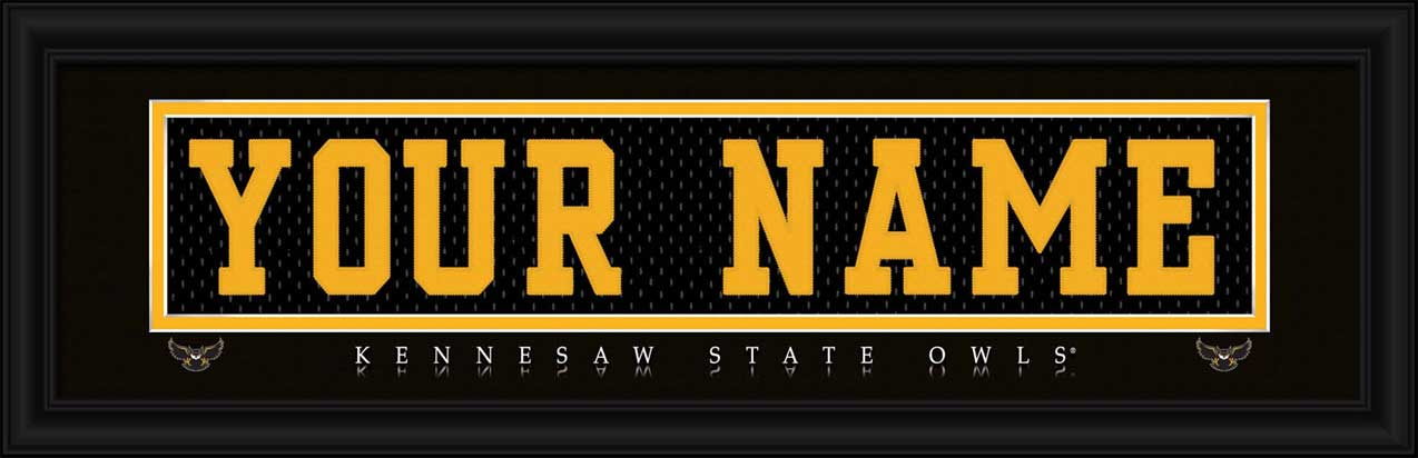College - Kennesaw State Owls - Personalized Jersey Nameplate - Framed Picture