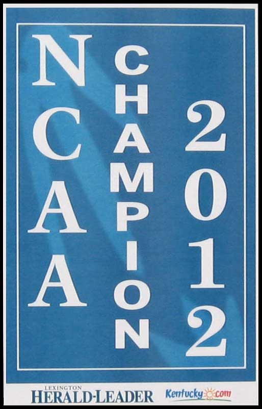 College - Kentucky Wildcats - NCAA Champions 2012 - Plaque Mounted & Laminated Print