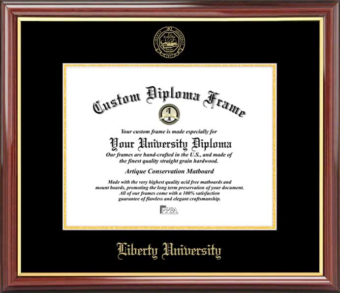 College - Liberty University Flames - Embossed Seal - Mahogany Gold Trim - Diploma Frame