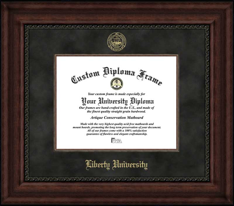 College - Liberty University Flames - Embossed Seal - Suede Mat - Mahogany - Diploma Frame