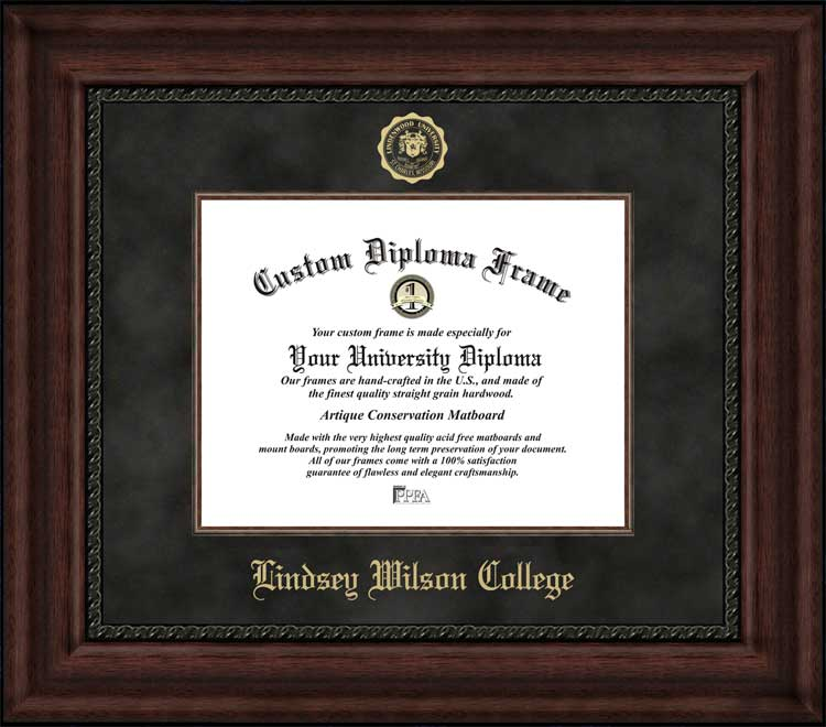 College - Lindsey Wilson College Blue Raiders - Embossed Seal - Suede Mat - Mahogany - Diploma Frame