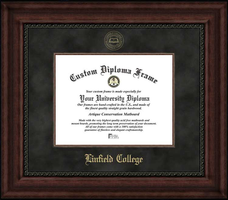 College - Linfield College Wildcats - Embossed Seal - Suede Mat - Mahogany - Diploma Frame