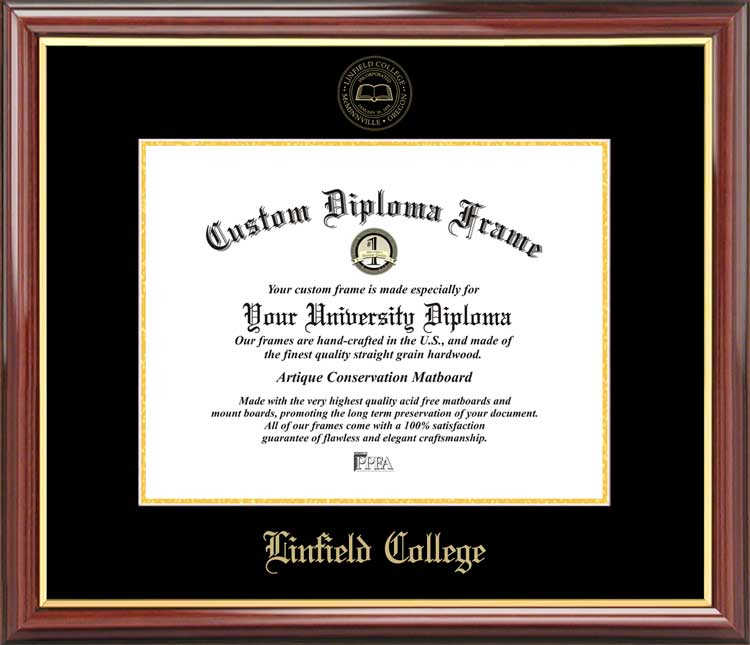 College - Linfield College Wildcats - Embossed Seal - Mahogany Gold Trim - Diploma Frame