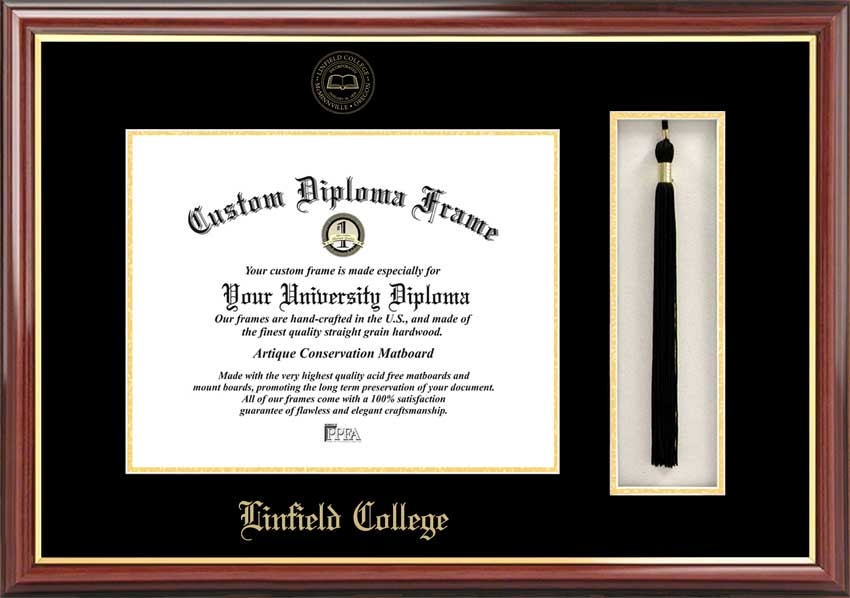 College - Linfield College Wildcats - Embossed Seal - Tassel Box - Mahogany - Diploma Frame