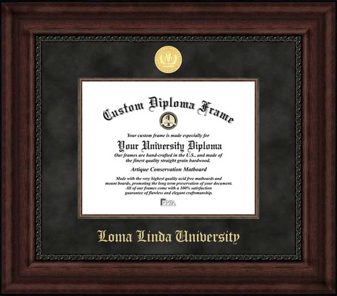 College - Loma Linda University  - Gold Medallion - Suede Mat - Mahogany - Diploma Frame