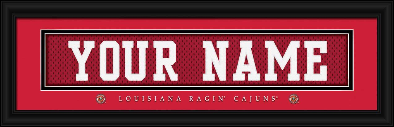 College - Louisiana Lafayette Ragin' Cajuns - Personalized Jersey Nameplate - Framed Picture