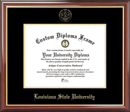 College - Louisiana State University Tigers - Embossed Seal - Mahogany Gold Trim - Diploma Frame