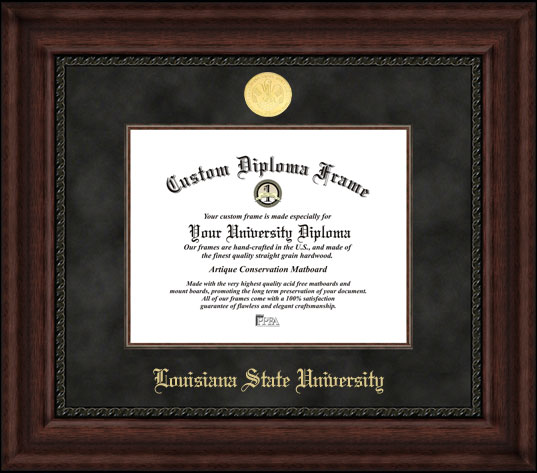 College - Louisiana State University Tigers - Gold Medallion - Suede Mat - Mahogany - Diploma Frame