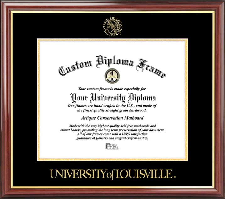 College - University of Louisville Cardinals - Embossed Seal - Mahogany Gold Trim - Diploma Frame