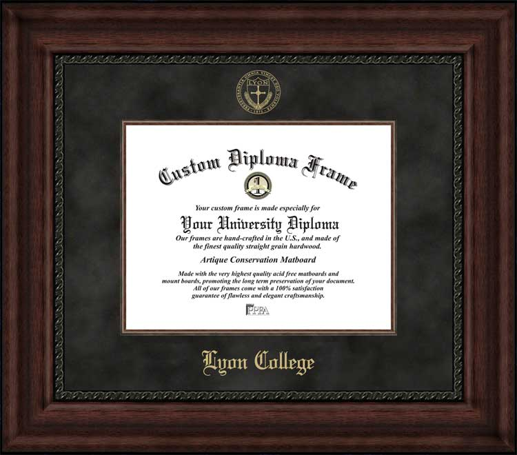 College - Lyon College Scots - Embossed Seal - Suede Mat - Mahogany - Diploma Frame