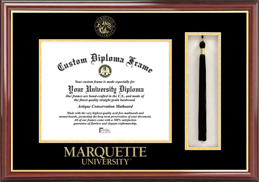 College - Marquette University Golden Eagles - Embossed Seal - Tassel Box - Mahogany - Diploma Frame