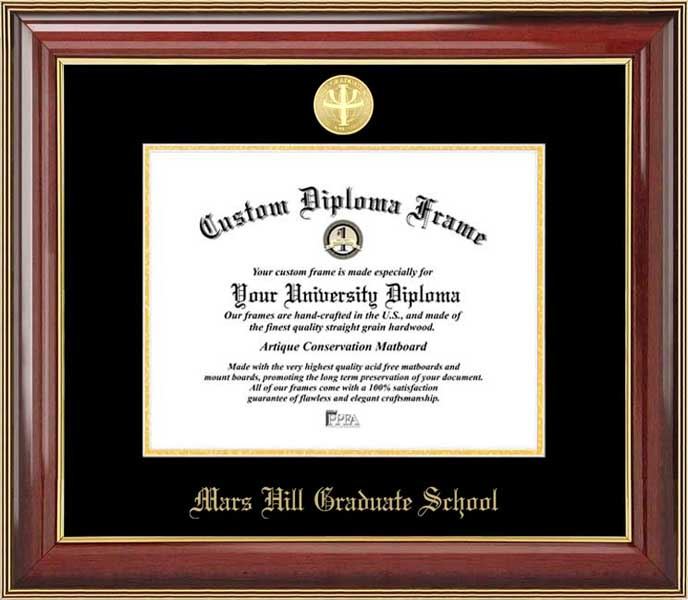 College - Mars Hill Graduate School  - Gold Medallion - Mahogany Gold Trim - Diploma Frame