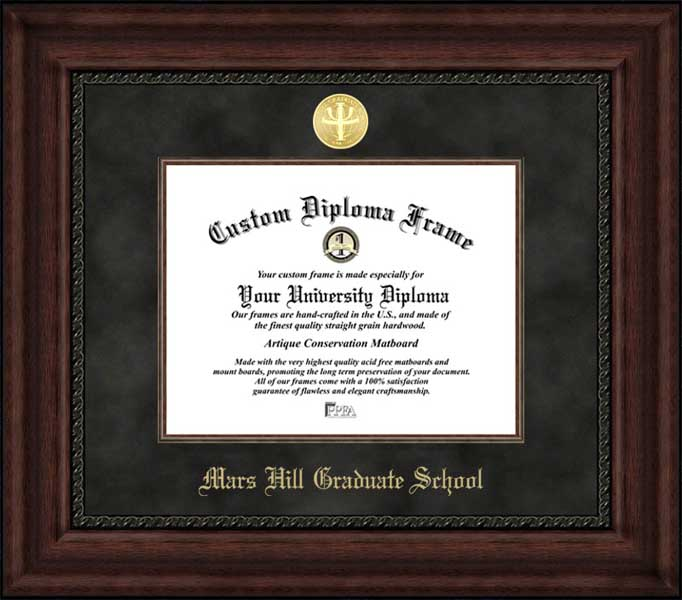 College - Mars Hill Graduate School  - Gold Medallion - Suede Mat - Mahogany - Diploma Frame
