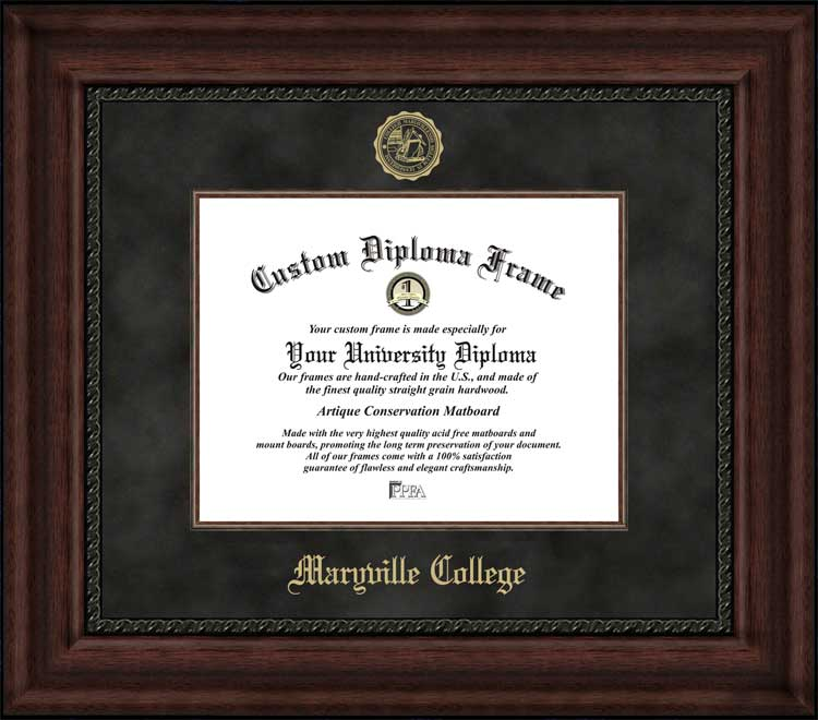 College - Maryville College Fightin' Scots - Embossed Seal - Suede Mat - Mahogany - Diploma Frame