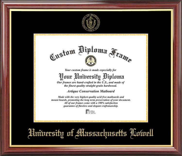 College - University of Massachusetts Lowell UMass River Hawks - Embossed Seal - Mahogany Gold Trim - Diploma Frame