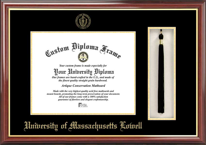 College - University of Massachusetts Lowell UMass River Hawks - Embossed Seal - Tassel Box - Mahogany - Diploma Frame
