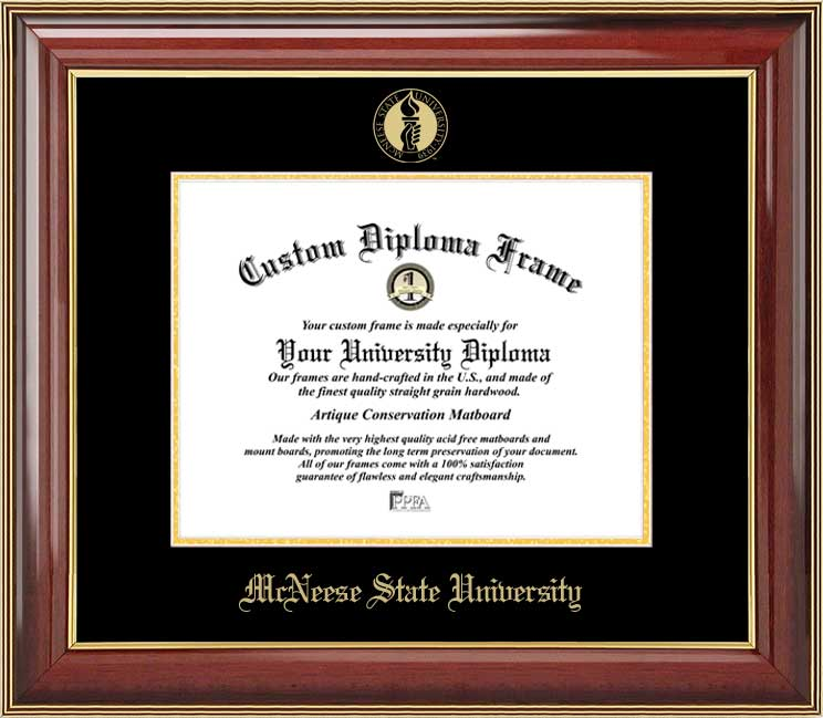 College - McNeese State University Cowboys - Embossed Seal - Mahogany Gold Trim - Diploma Frame