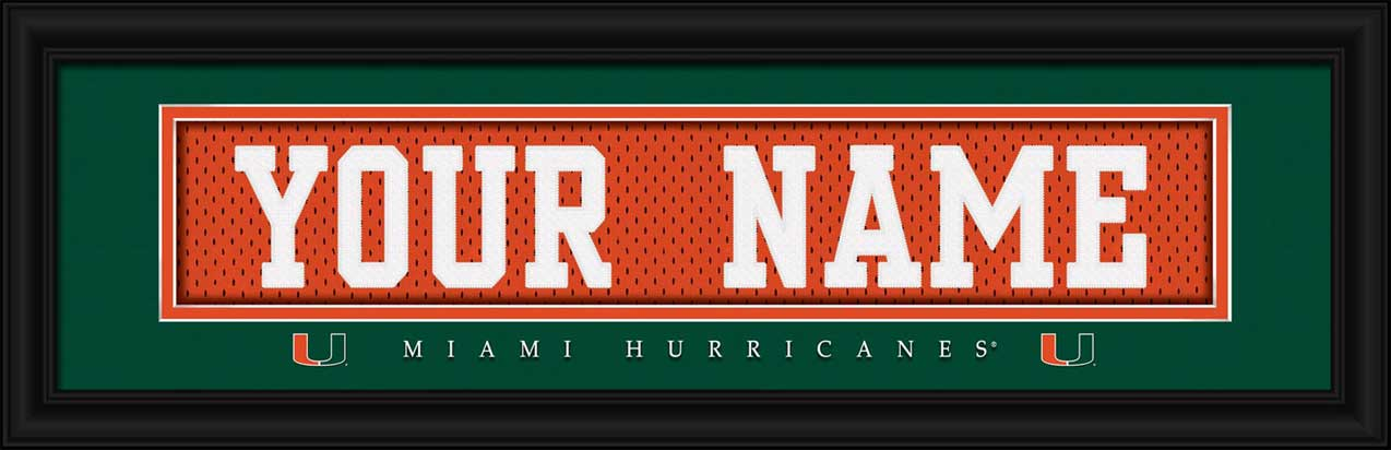 College - Miami Hurricanes - Personalized Jersey Nameplate - Framed Picture