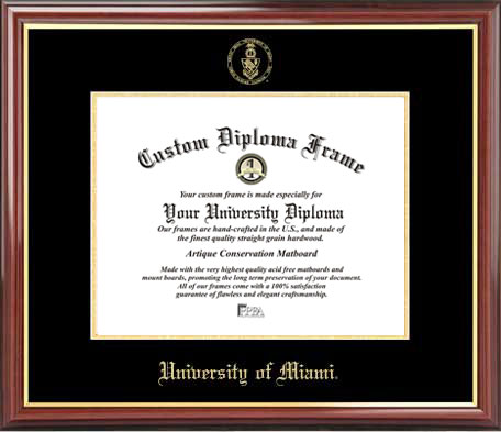 College - University of Miami (FL) Hurricanes - Embossed Seal - Mahogany Gold Trim - Diploma Frame