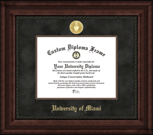 College - University of Miami (FL) Hurricanes - Gold Medallion - Suede Mat - Mahogany - Diploma Frame