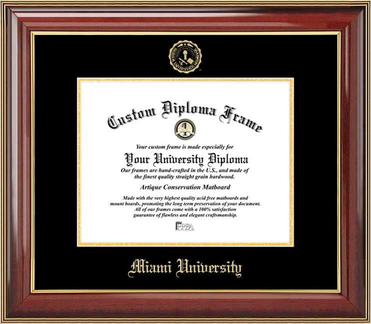 College - Miami University (OH) Redhawks - Embossed Seal - Mahogany Gold Trim - Diploma Frame