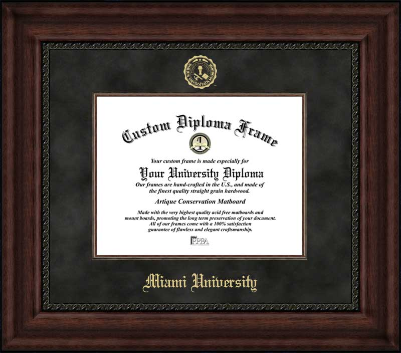 College - Miami University (OH) Redhawks - Embossed Seal - Suede Mat - Mahogany - Diploma Frame
