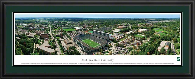 College - Michigan State Spartans - MSU Campus Aerial - East Lansing - Framed Picture
