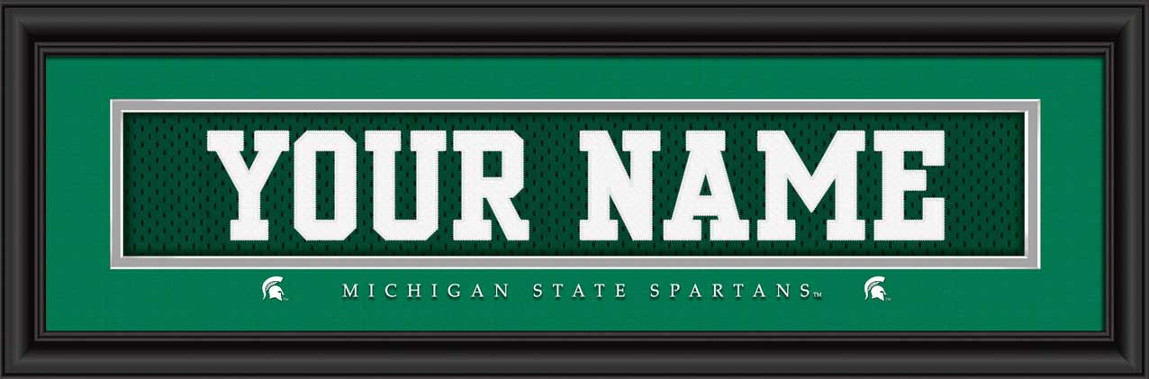 College - Michigan State Spartans - Personalized Jersey Nameplate - Framed Picture