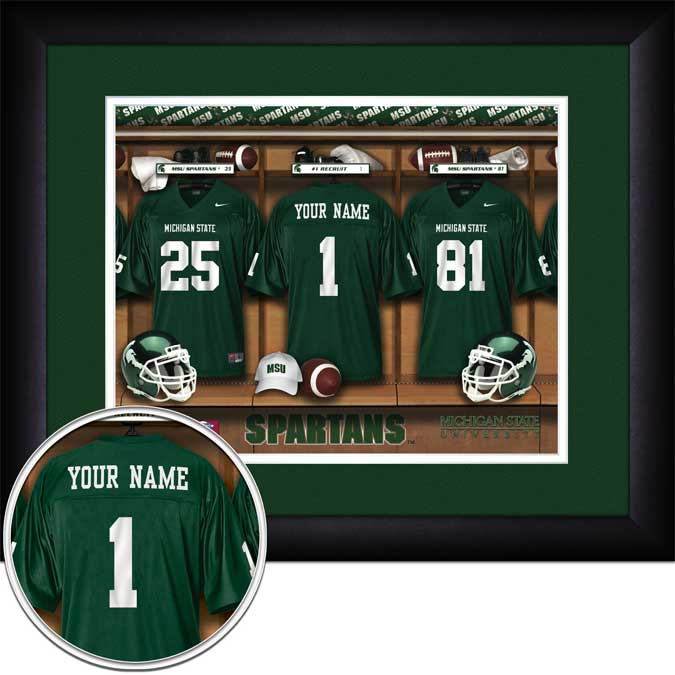 College - Michigan State Spartans - Personalized Locker Room - Framed Picture