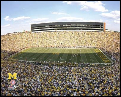 College - Michigan Wolverines - Michigan Stadium - The Big House - Sm - Plaque Mounted & Laminated Print