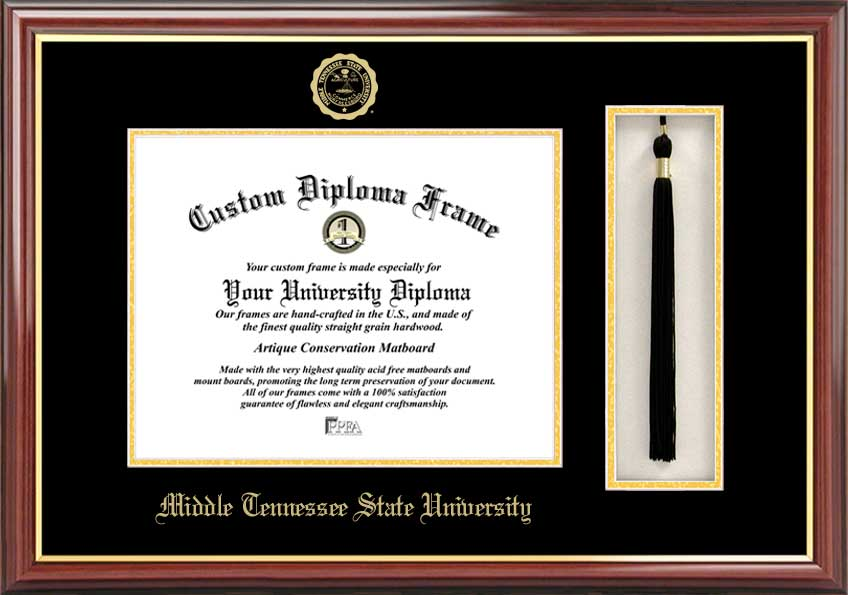 College - Middle Tennessee State University Blue Raiders - Embossed Seal - Tassel Box - Mahogany - Diploma Frame