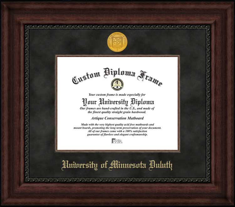 College - University of Minnesota Duluth Bulldogs - Gold Medallion - Suede Mat - Mahogany - Diploma Frame
