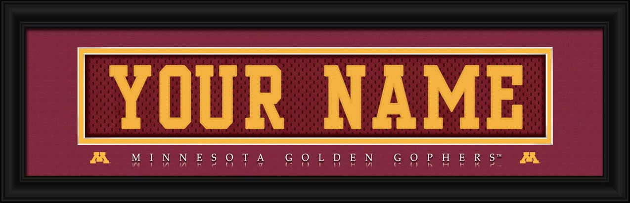 College - Minnesota Golden Gophers - Personalized Jersey Nameplate - Framed Picture