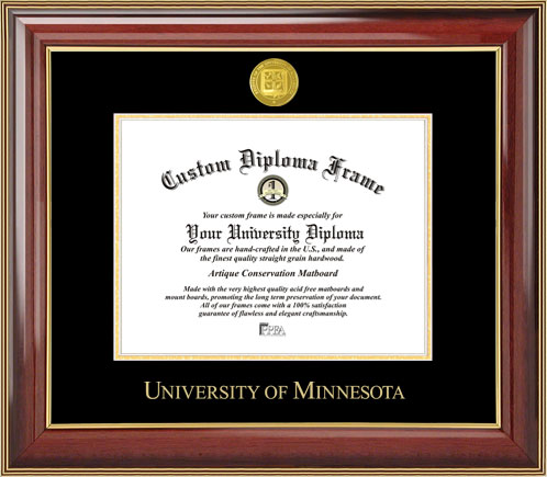 College - University of Minnesota Golden Gophers - Gold Medallion - Mahogany Gold Trim - Diploma Frame