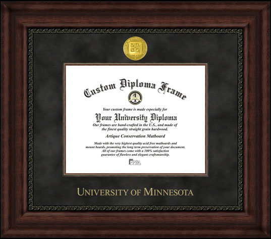College - University of Minnesota Golden Gophers - Gold Medallion - Suede Mat - Mahogany - Diploma Frame